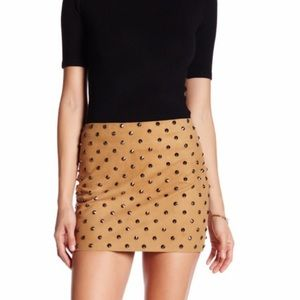 Alice and Olivia Suede skirt with gunmetal studs